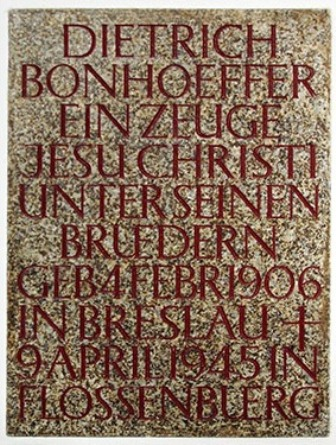 Bonhoeffer Memorial Plaque