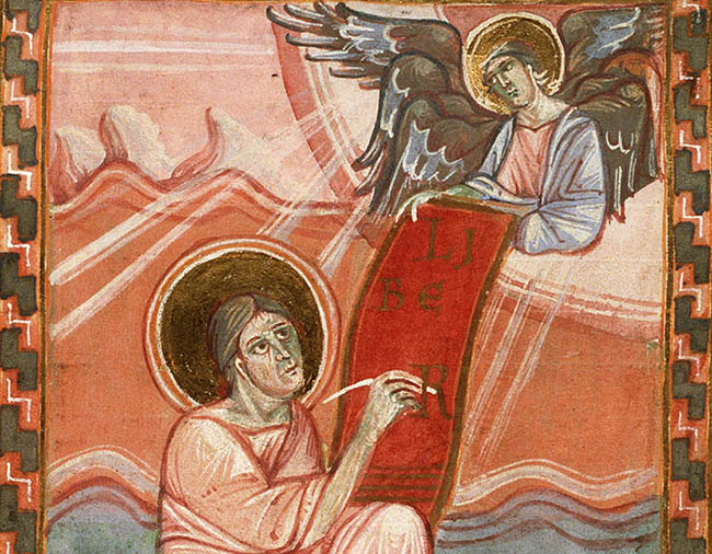 The Evangelist St. Matthew with his symbol, the angel (The National Library of the Netherlands)